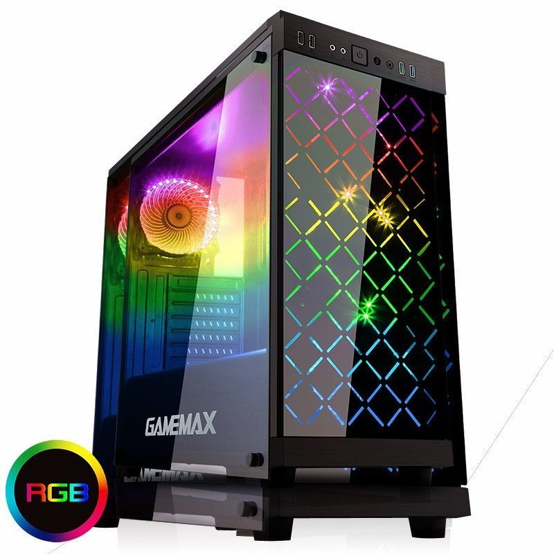 Gamemax Case ATX - Fully Tempered Glass - Polaris Black RGB