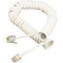 Phone Cord 4P4C/4P4C Coil White - CT044C-1.5m