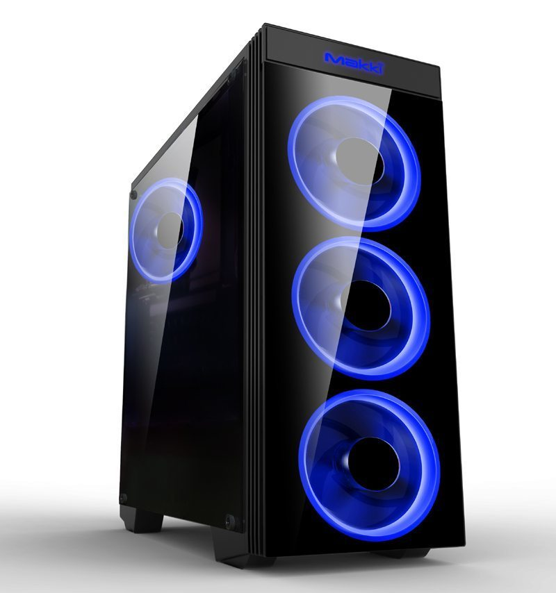 Case ATX Gaming - MAKKI-8872-BLUE - 4x120mm BLUE double ring fans