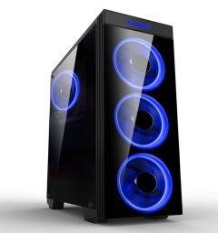 Case ATX Gaming - MAKKI-8872-BLUE - 4x120mm BLUE double ring fans