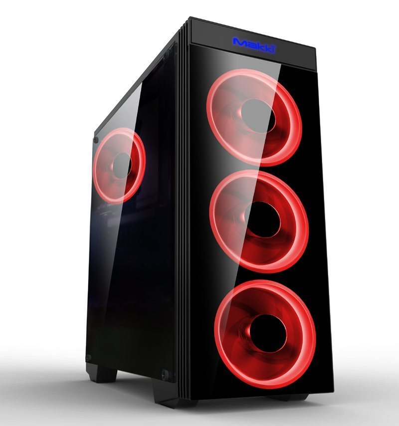 Makki Case ATX Gaming - MAKKI-8872-RED - 4x120mm RED double ring fans
