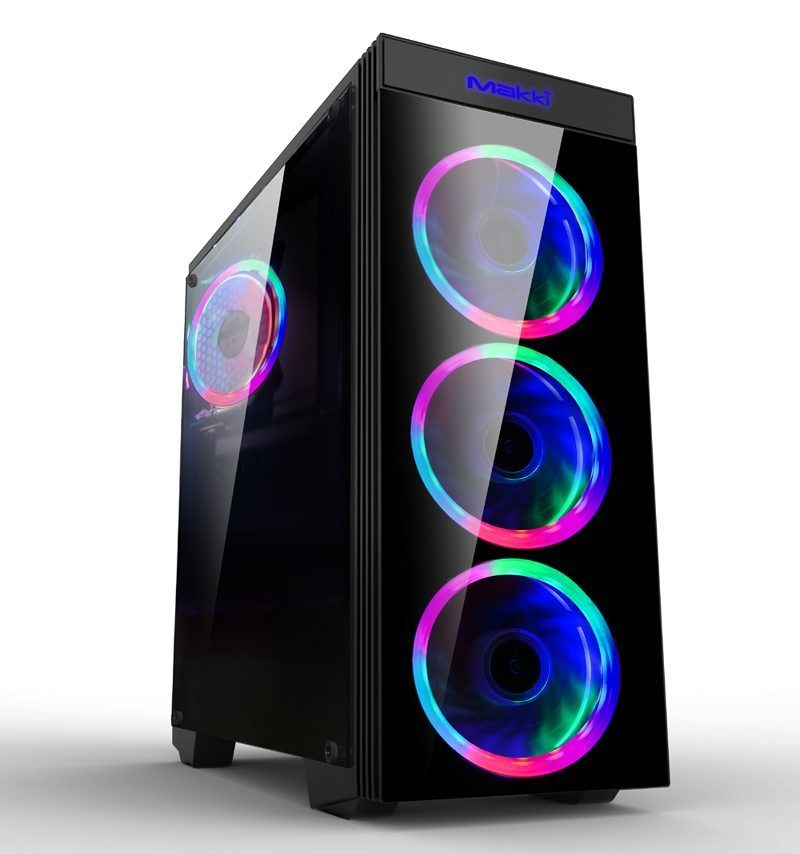 Makki Case ATX Gaming - MAKKI-8872-RGB - 4x120mm RGB double ring fans