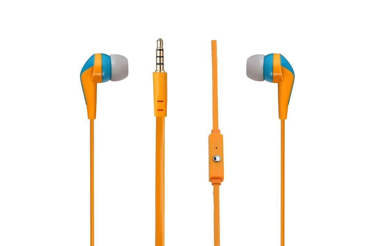 Walk the Talk- In-earphones with mic Turquose & orange AM1101/TOG