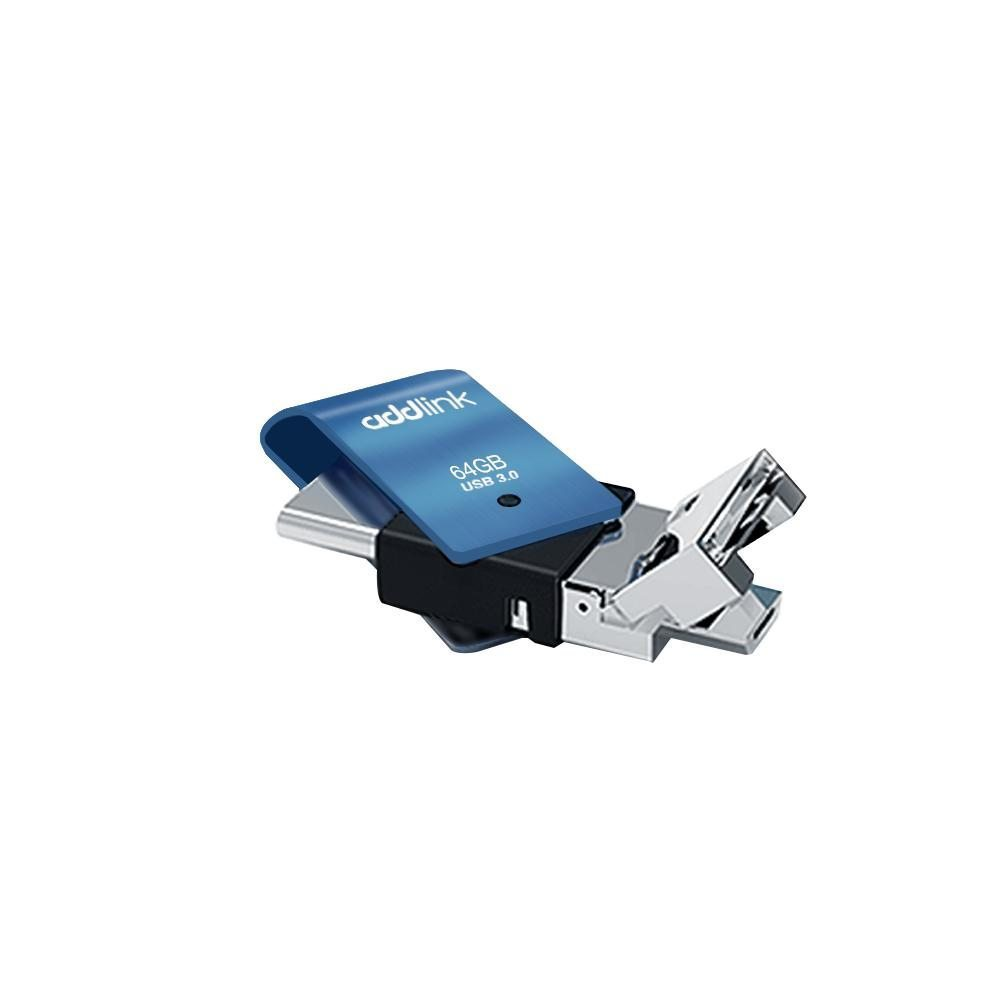 флашка Flash T80 64GB 3-in-1 USB 3.1 Type C / OTG Micro B / USB 3.0 Aluminium Blue - ad64GBT80B3