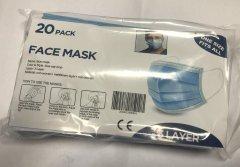предпазни маски пакет covid 19 - Face Mask Surgical Blue 3 layers - 20pcs pack
