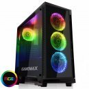 Gamemax геймърска кутия за компютър Case ATX - Fully Tempered Glass - Draco Black RGB