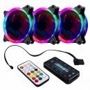 комплект вентилатори FAN SET 3 x Fan 120mm RGB 2 rings, controller, remote