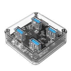 хъб USB3.0 HUB 4 port transparent - MH4U-U3-03-CR