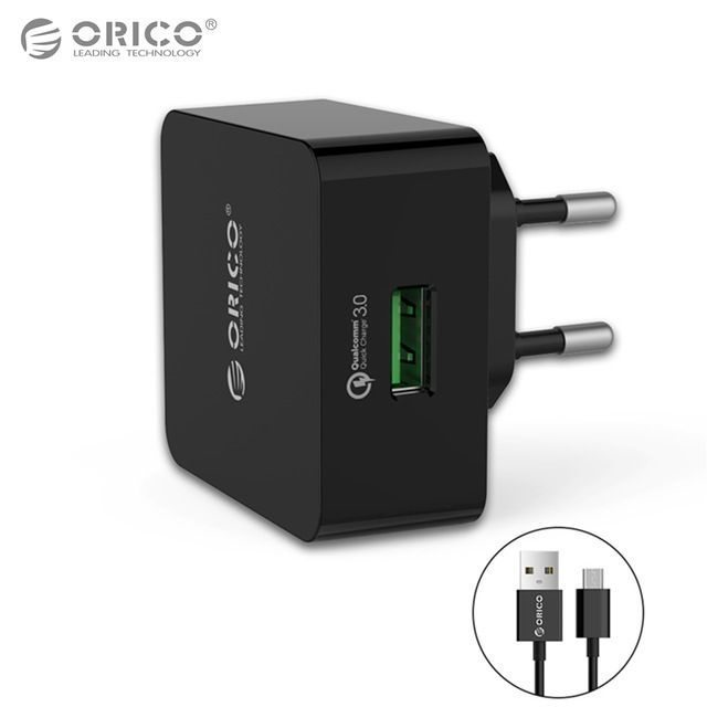 Orico зарядно за стена Charger 220V - 18W Quick Charge QC3.0 black - QTW-1U