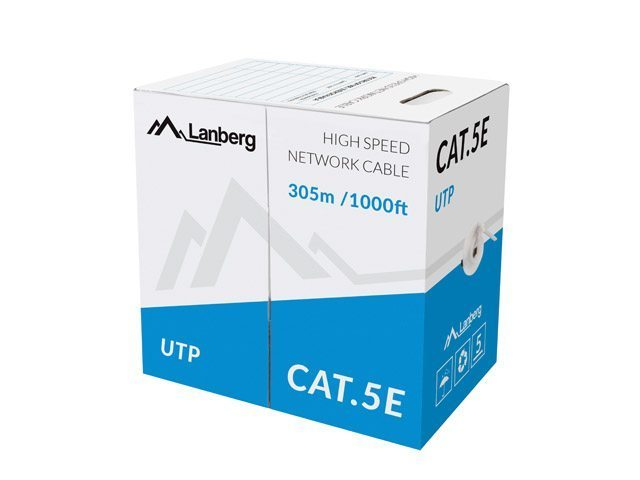 UTP SOLID GRAY CABLE, CCA, CAT 5E, 305M - LCU5-10CC-0305-S
