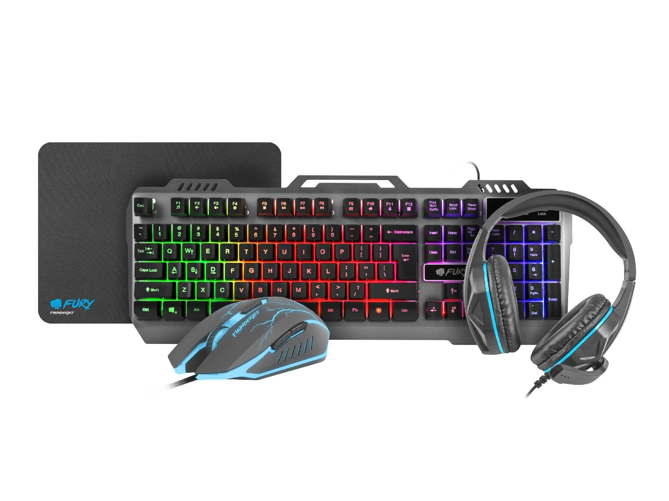 Геймърски комплект Gaming COMBO THUNDERJET 4-in-1 Keyboard, Mouse, Headset, Mousepad - NFU-1217